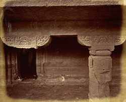 Close view of pillar and capital in porch of Buddhist Vihara, Cave XXIV, Ajanta